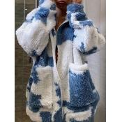 lovely Casual Tie-dye Zipper Design Blue Faux Fur