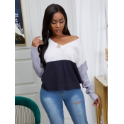 lovely Leisure V Neck Patchwork Dark Blue Sweater