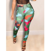 lovely Casual Camo Print Skinny Green Pants