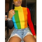 Lovely Stylish Turtleneck?Rainbow Striped Multicolor T-shirt