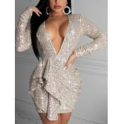 Lovely Sexy Deep V Neck Flounce Design Silver Mini Dress