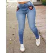 lovely Casual Lip Print Skinny Blue Jeans