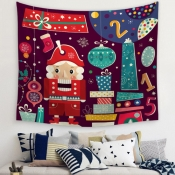 lovely Christmas Day Cartoon Print Red Decorative