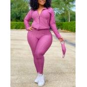 Lovely Casual Turndown Collar Zipper Design Light Purple Plus Size Two-piece Pants Set