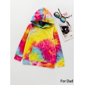 lovely Family Hooded Collar Tie-dye Dad Hoodie