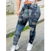 Lovely Trendy Print Skinny Deep Bue Pants