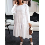 lovely Casual O Neck Fold Design Loose White Mid C