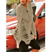 lovely Street O Neck Broken Holes Khaki Sweater