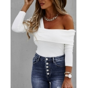 lovely Trendy V Neck Cross-over Design White Sweat