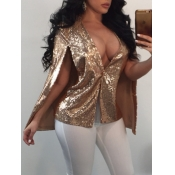 lovely Sexy Deep V Neck Sequined Gold Coat