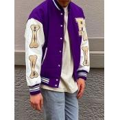 Lovely Trendy Print Patchwork Purple Men Jacket