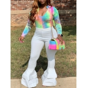 Lovely Stylish Tie Dye White Two Piece Pants Set