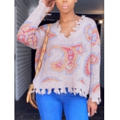 lovely Trendy V Neck Print Apricot Sweater