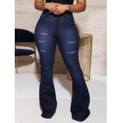 lovely Casual Hollow-out Skinny Deep Blue Jeans