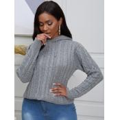lovely Street Hooded Collar Basic Grey Sweater