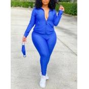 Lovely Casual Turndown Collar Zipper Design Blue Plus Size Two-piece Pants Set