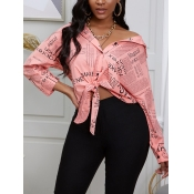 lovely Trendy Shirt Collar Letter Print Light Pink