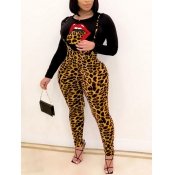 lovely Casual O Neck Long Sleeve Leopard Print Two