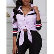 lovely Trendy Shirt Collar Striped Print Pink Blou