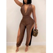 Lovely Party V Neck Off The Shoulder Brown One-pie