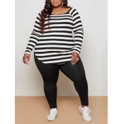 lovely Casual Boat Neck Long Sleeve Striped Black