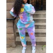 Lovely Street Hooded Collar Long Sleeve Tie Dye Blue Two Piece Pants Set