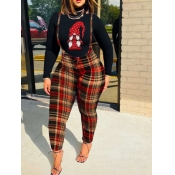 Lovely Casual Turtleneck Plaid Print Christmas Day Black Two Piece Pants Set
