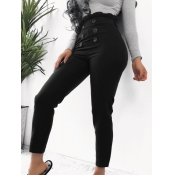 lovely Street Buttons Design Black Pants