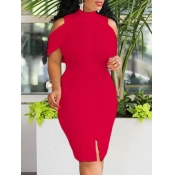 lovely Sexy Off The Shoulder Red Knee Length Dress
