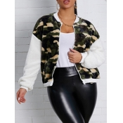 lovely Street Camo Print Patchwork Army GreenFaux