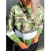 lovely Street O Neck Patchwork Camo Print Hoodie