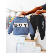 Lovely Casual O Neck Letter Patchwork Blue Boy Two