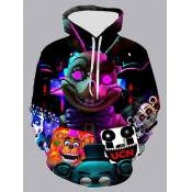 lovely Street Hooded Collar Print Multicolor Men Hoodie