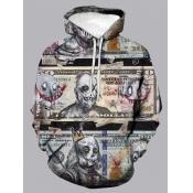 Lovely Street Hooded Collar Print Multicolor Men Hoodie