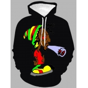 lovely Casual Hooded Collar Cartoon Print Black Men Hoodie