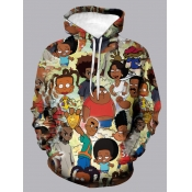 Lovely Street Hooded Collar Cartoon Print Multicolor Men Hoodie