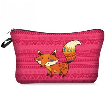 Lovely Casual Cartoon Print Pink Makeup Bag