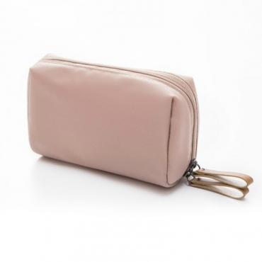 Lovely Trendy Zipper Design Light Pink Makeup Bag