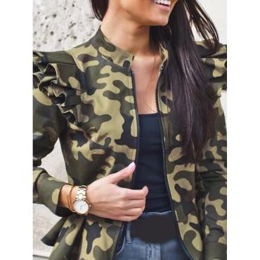 Lovely Trendy Camo Print Flounce Design Army Green