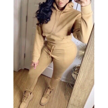 Lovely Casual Hooded Collar Basic Khaki Two Piece