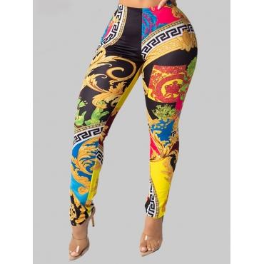 Lovely Street Print Skinny Black Leggings
