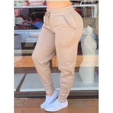 Lovely Casual Lace-up Basic Khkai Pants