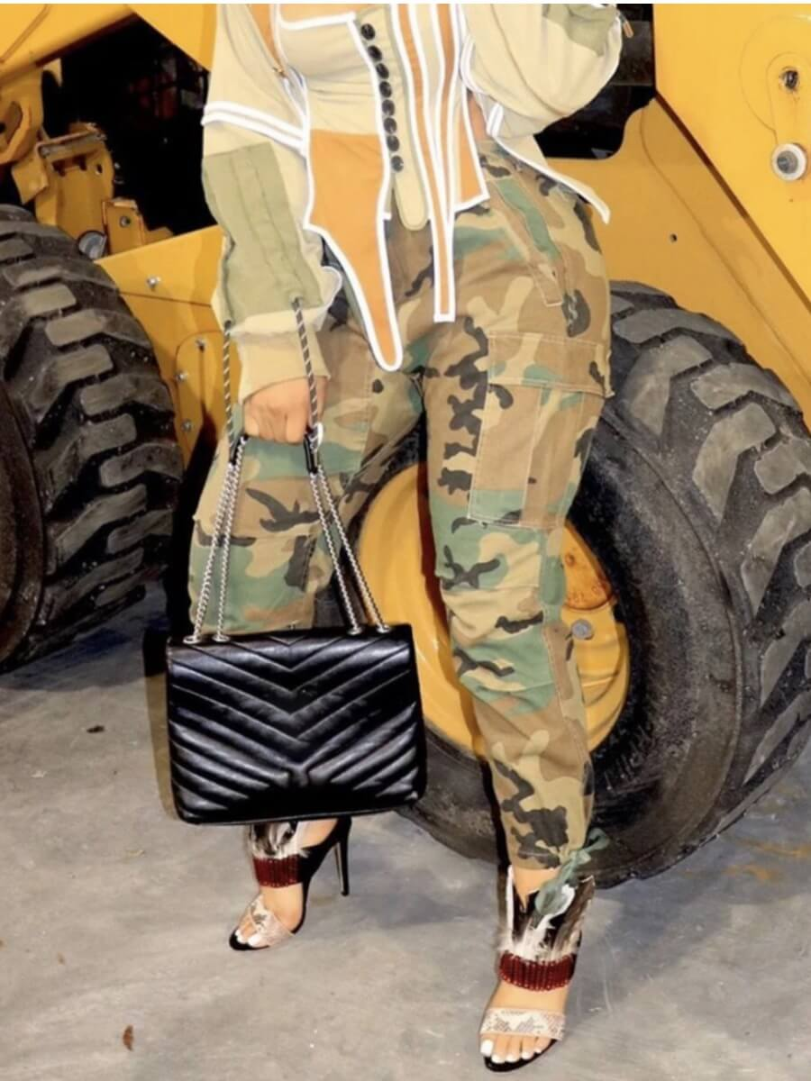 Lovely Casual Side-pocket Loose Camo Print Pants