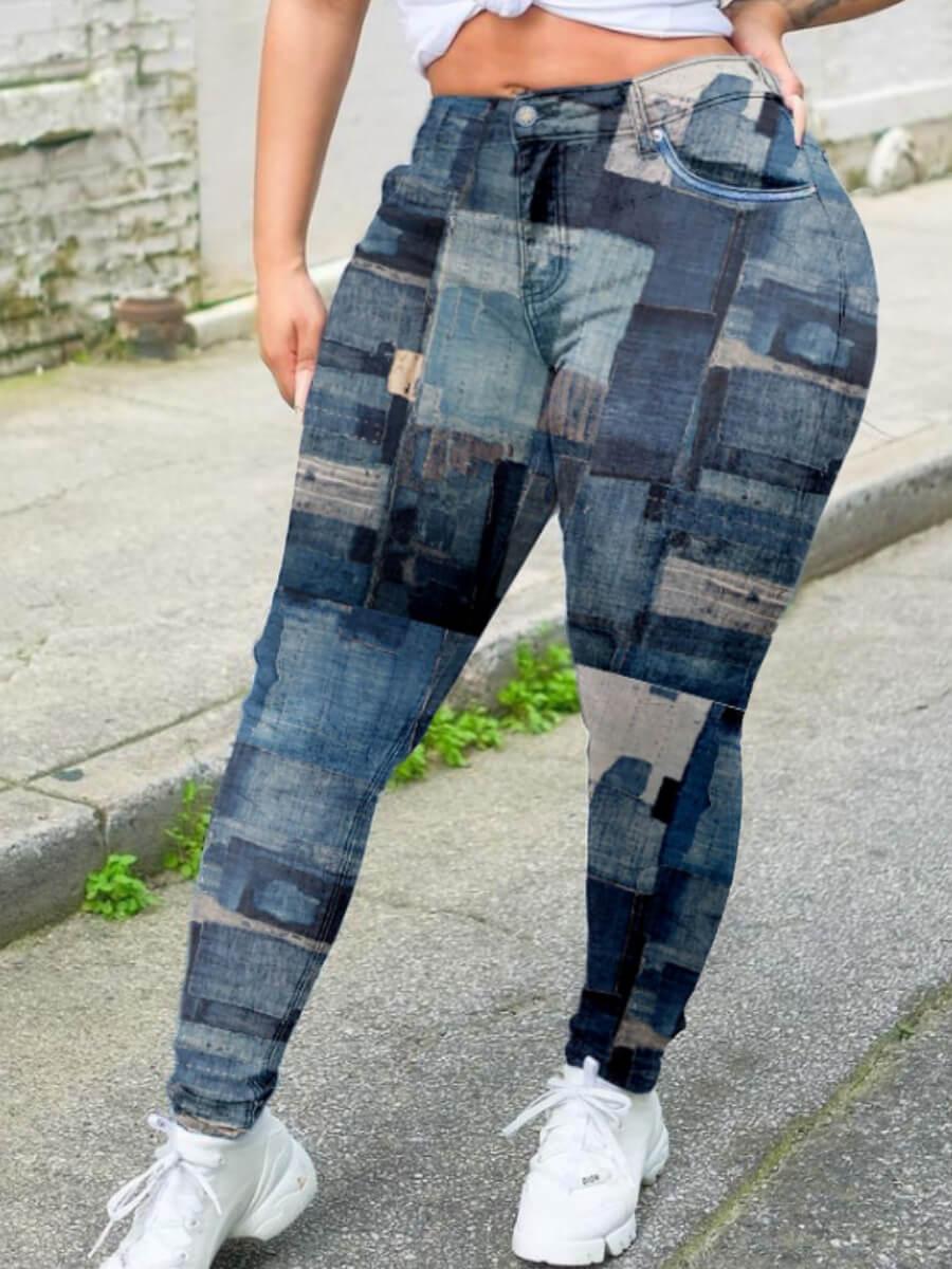 Lovely Street Print Deep Blue Plus Size Pants