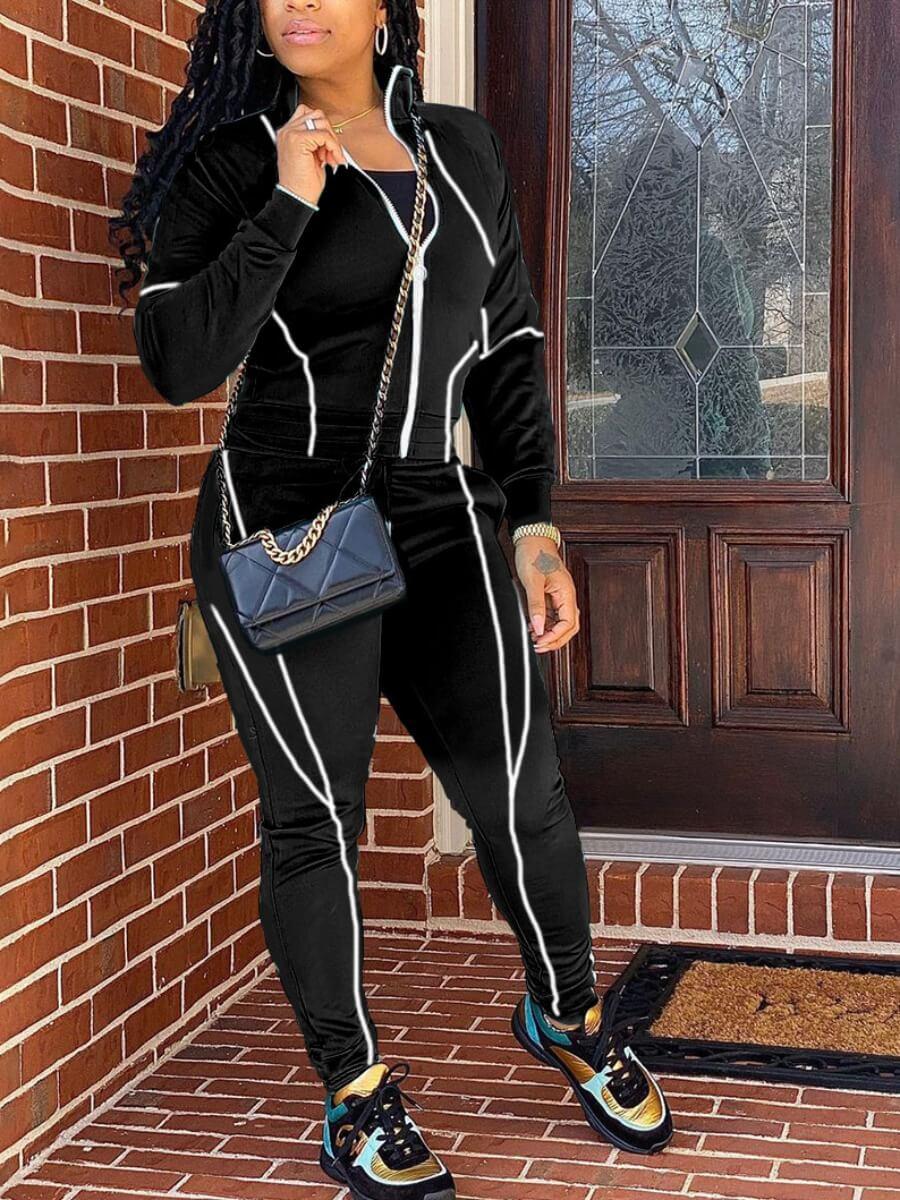 Lovely Casual Geometric Striped Zipper Design Blac