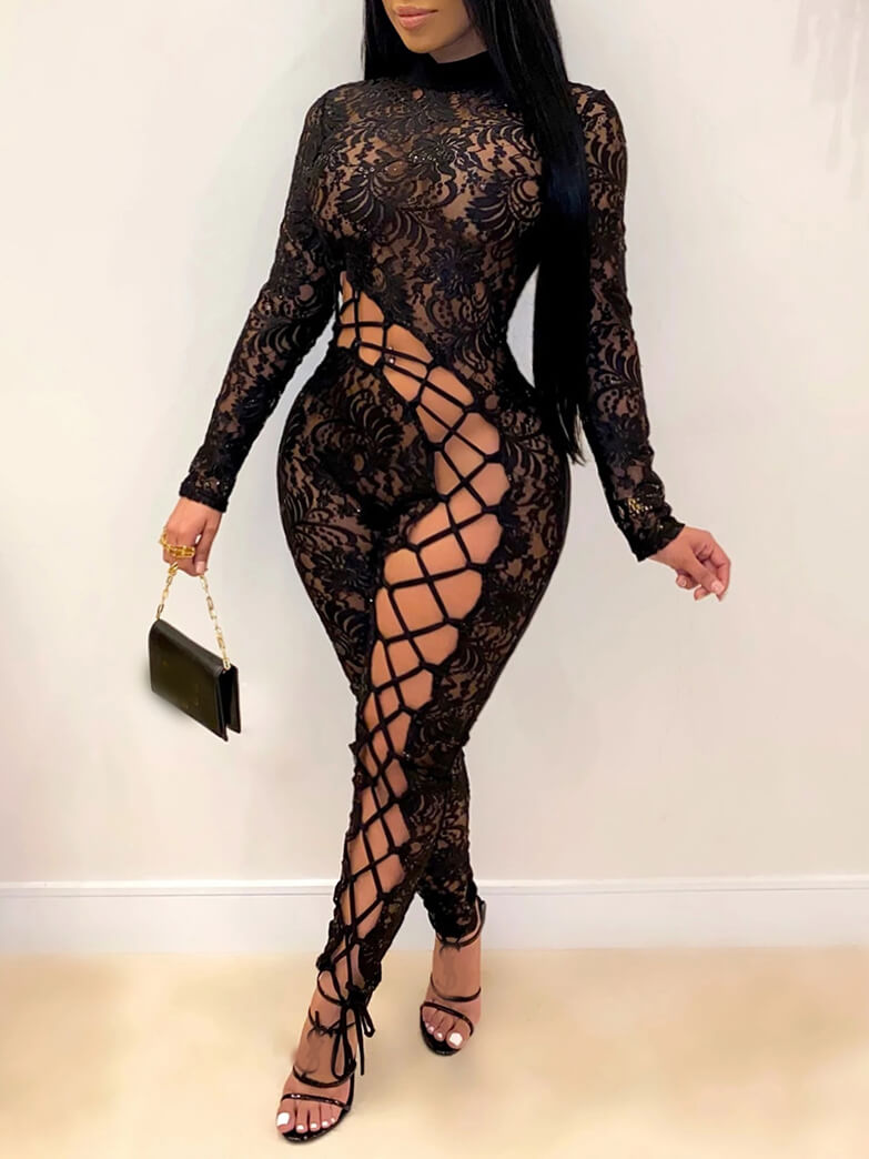 Lovely Sexy Turtleneck Lace Patchwork Hollow-out B