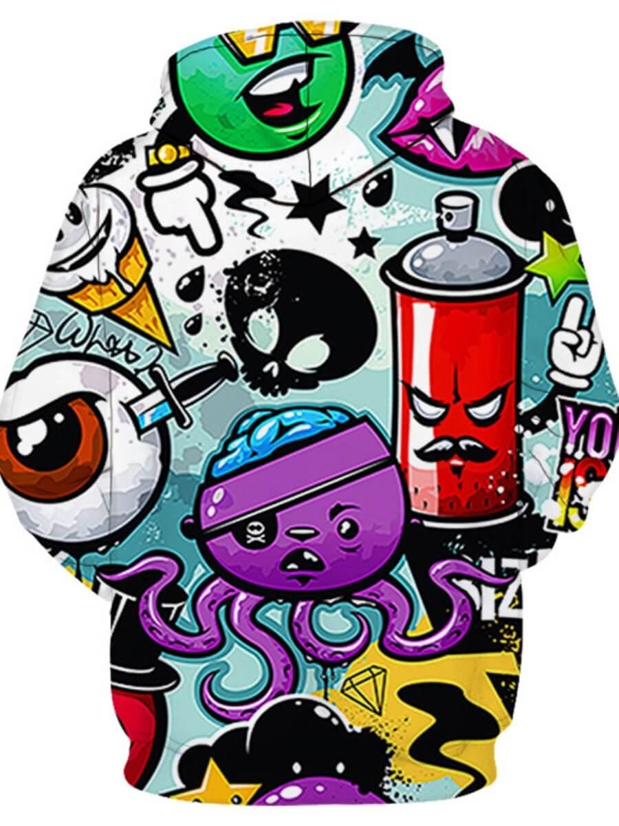 Lovely Men Street Hooded Collar Cartoon Print Multicolor Hoodie