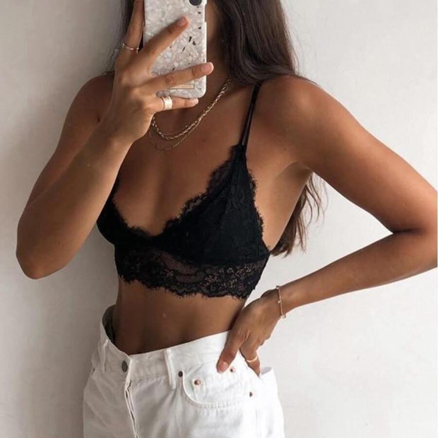 Lovely Sexy Lace Patchwork Black Bras