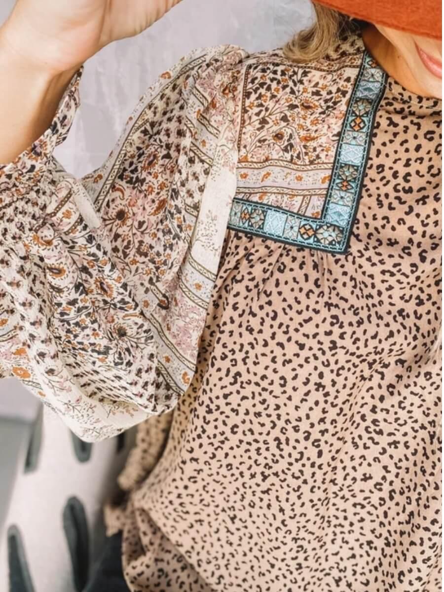 Lovely Chic O Neck Leopard Print Patchwork Light Camel Blouse