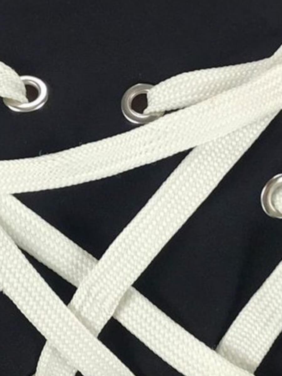 Lovely Stylish Bandage Design Black Coat